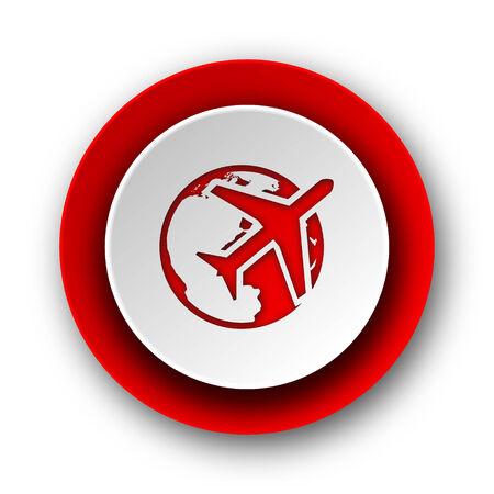 travel red modern web icon on white background  photo