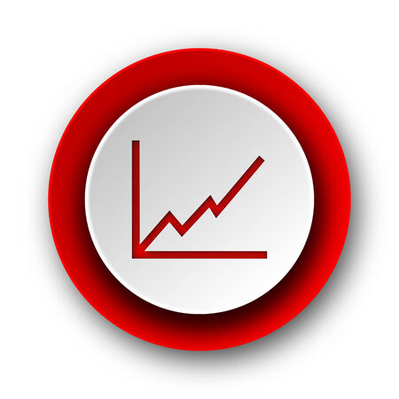 chart red modern web icon on white background  photo