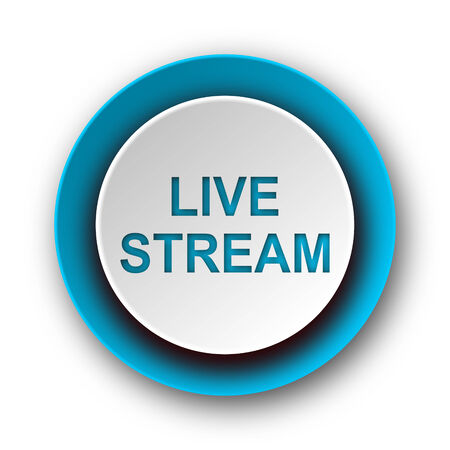 news cast: live stream blue modern web icon on white background