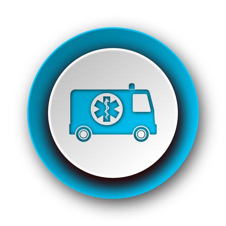 ambulance blue modern web icon on white background  photo