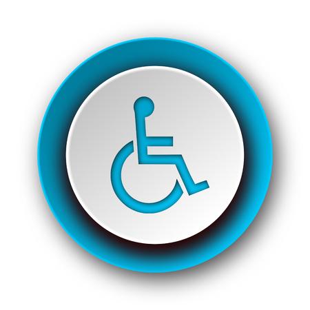 wheelchair blue modern web icon on white background  photo