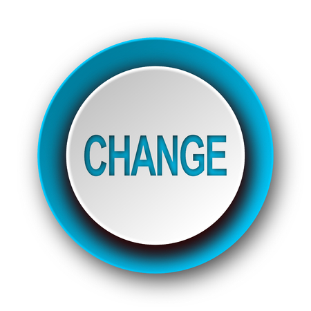 change blue modern web icon on white background  photo