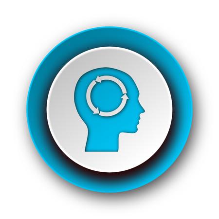 keen: head blue modern web icon on white background  Stock Photo