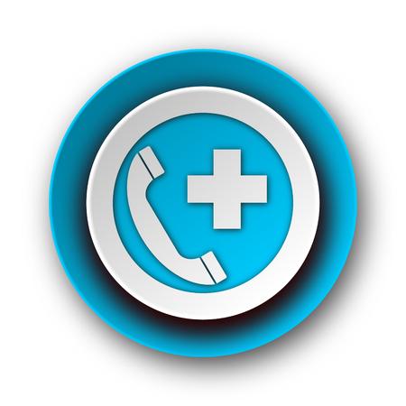 emergency call blue modern web icon on white background  photo