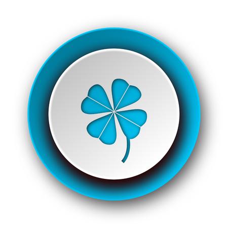 fourleaf: four-leaf clover blue modern web icon on white background