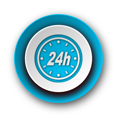 24h blue modern web icon on white background