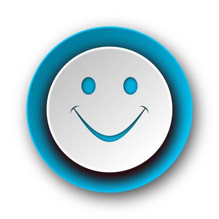 new yea: smile blue modern web icon on white background