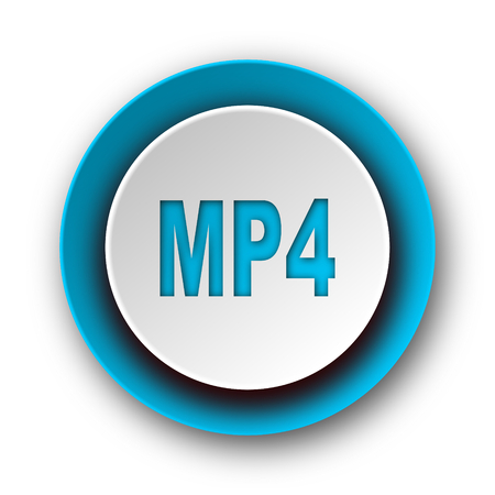 mp4 blue modern web icon on white background