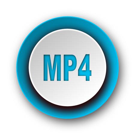 mp4: mp4 blue modern web icon on white background
