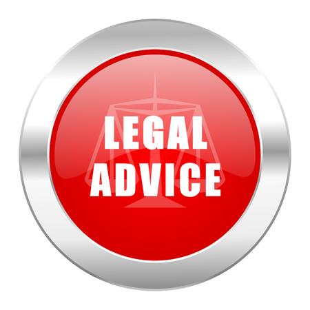 asesoria legal: aislado asesoramiento jur�dico icono de Chrome Web c�rculo rojo Foto de archivo