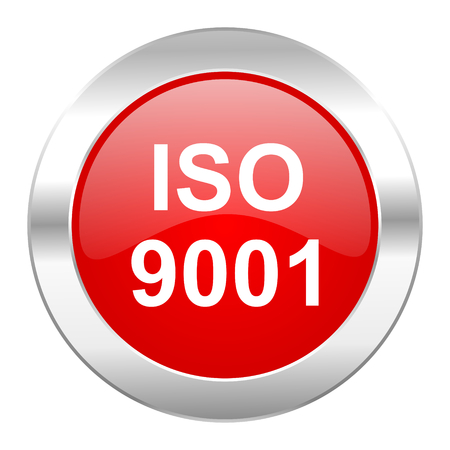 iso 9001 red circle chrome web icon isolated photo