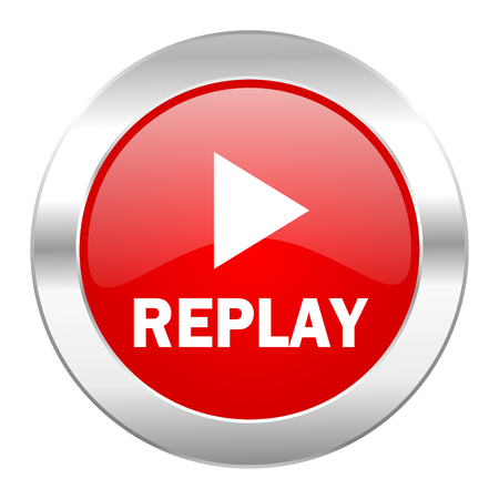 replay red circle chrome web icon isolated photo