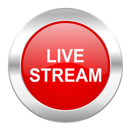 live stream tv: live stream red circle chrome web icon isolated Stock Photo