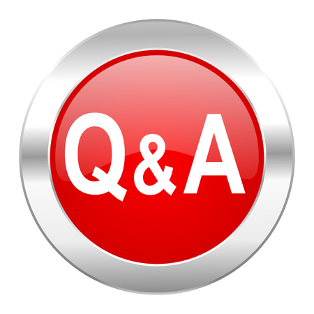 question answer red circle chrome web icon isolated photo