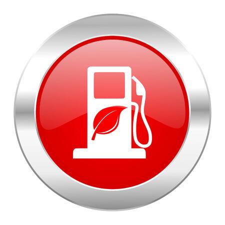 canola: biofuel red circle chrome web icon isolated Stock Photo
