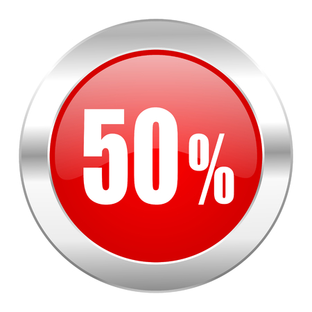 50 percent red circle chrome web icon isolated photo