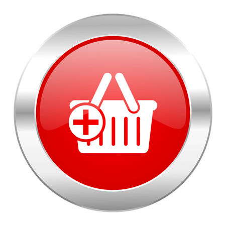 chrome cart: cart red circle chrome web icon isolated