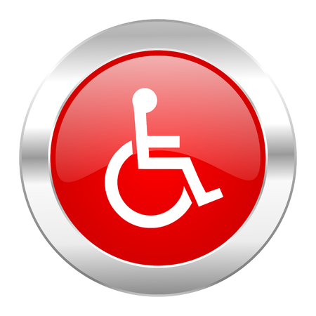 wheelchair red circle chrome web icon isolated photo