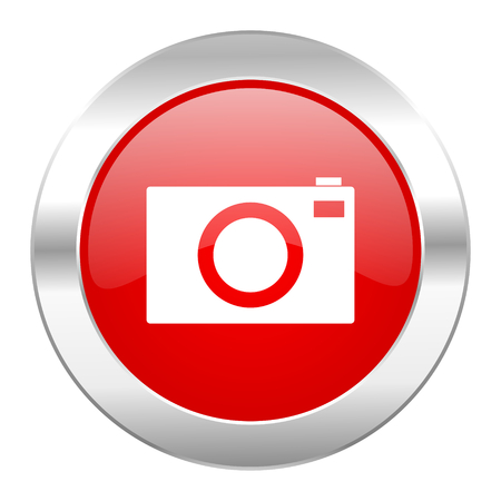 camera red circle chrome web icon isolated photo