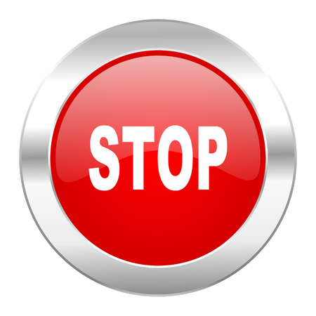 proscribed: stop red circle chrome web icon isolated