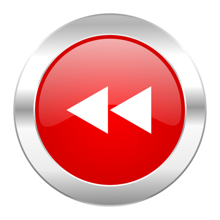 rewind red circle chrome web icon isolated photo
