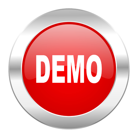 demo red circle chrome web icon isolated photo