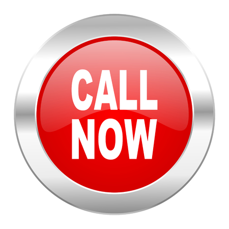 call now red circle chrome web icon isolated photo