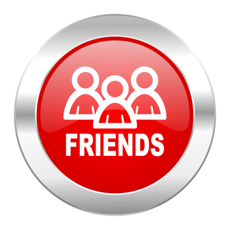 friends red circle chrome web icon isolated Stock Photo