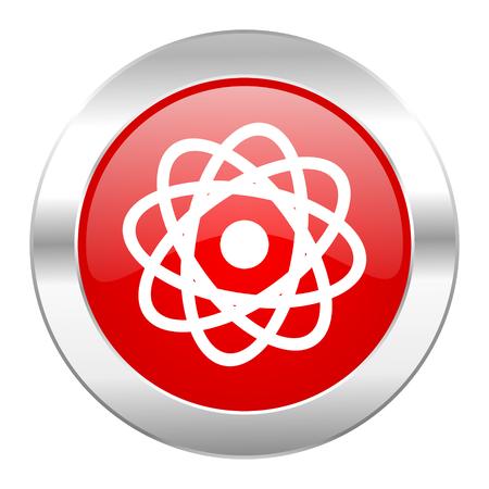 atom red circle chrome web icon isolated photo
