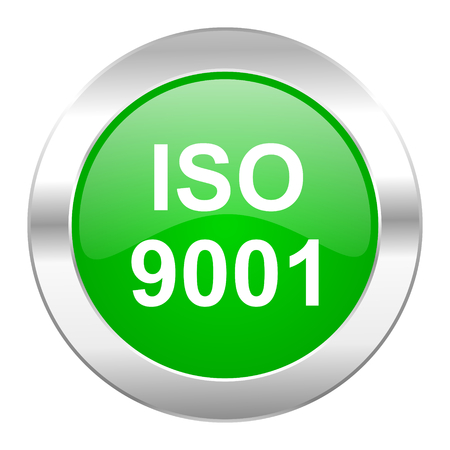 din: iso 9001 green circle chrome web icon isolated Stock Photo