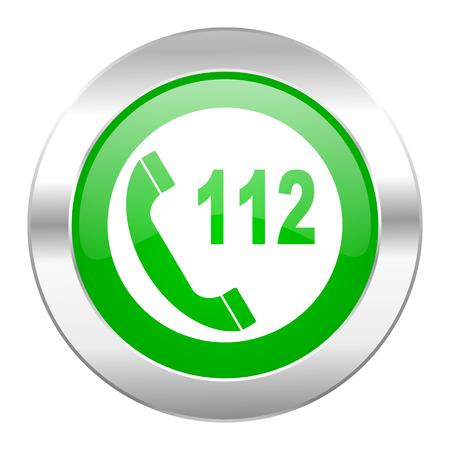 emergency call green circle chrome web icon isolated photo