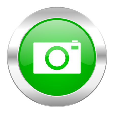 picto: camera green circle chrome web icon isolated
