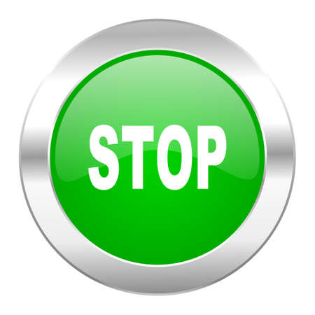 proscribed: stop green circle chrome web icon isolated