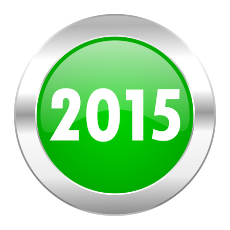 new year 2015 green circle chrome web icon isolated photo
