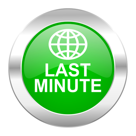 last minute green circle chrome web icon isolated photo