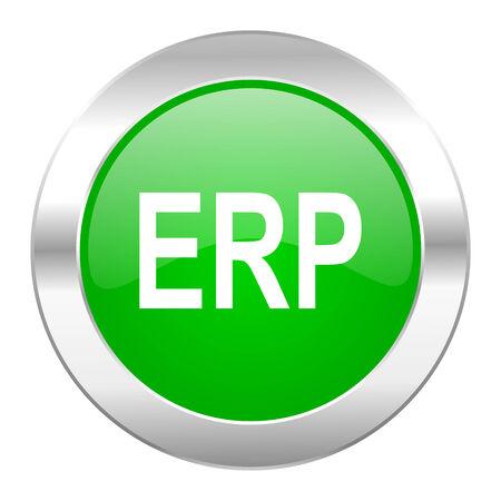 erp green circle chrome web icon isolated photo