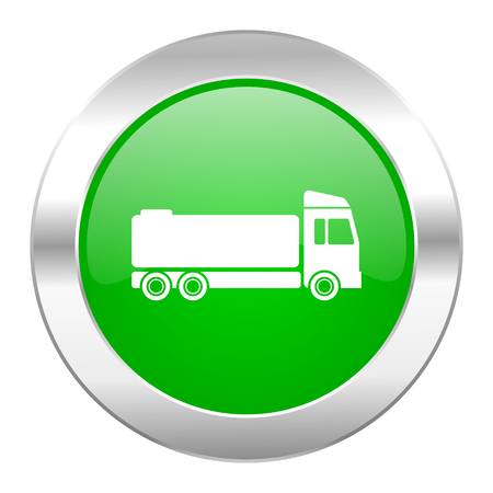 trucker: truck green circle chrome web icon isolated