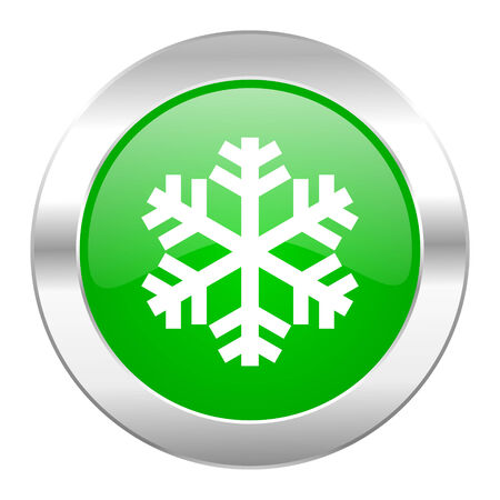 snow green circle chrome web icon isolated photo