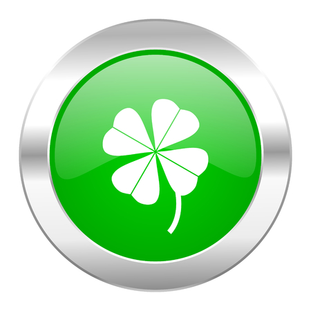 fourleaf: four-leaf clover green circle chrome web icon isolated