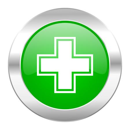 pharmacy green circle chrome web icon isolated photo