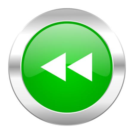rewind green circle chrome web icon isolated photo