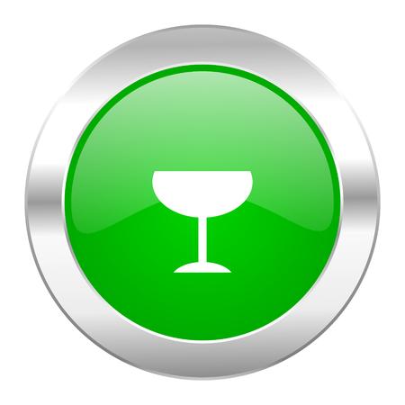 champain: alcohol  green circle chrome web icon isolated Stock Photo