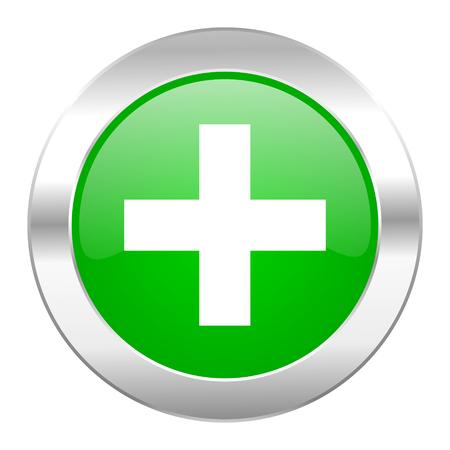 plus green circle chrome web icon isolated photo
