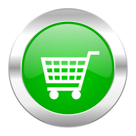 chrome cart: cart green circle chrome web icon isolated
