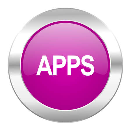 apps violet circle chrome web icon isolated Stock Photo