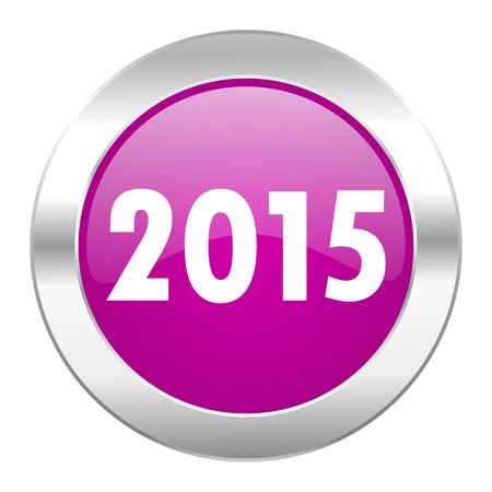 new year 2015 violet circle chrome web icon isolated photo