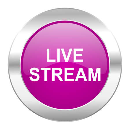 news cast: live stream violet circle chrome web icon isolated