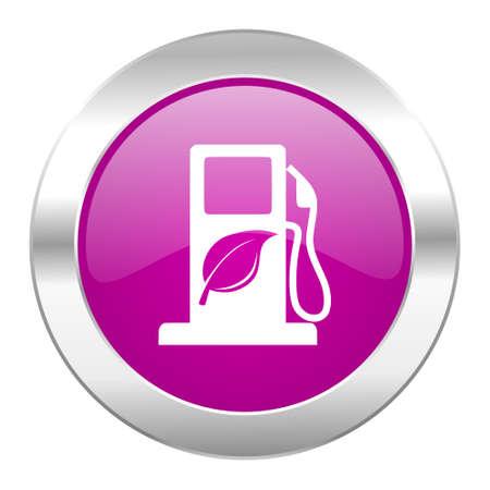 biofuel violet circle chrome web icon isolated photo