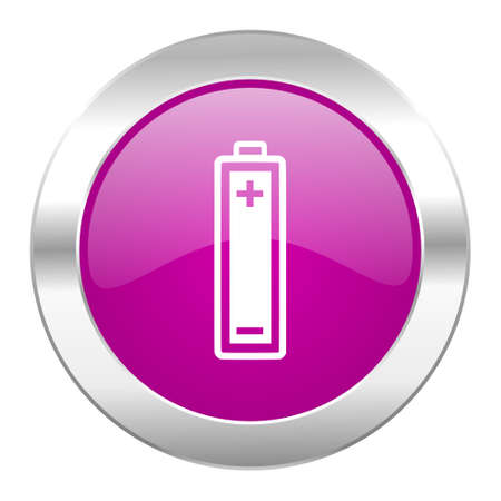 accuse: battery violet circle chrome web icon isolated