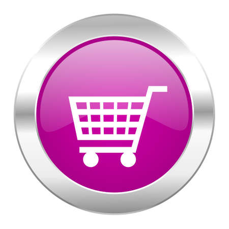 chrome cart: cart violet circle chrome web icon isolated